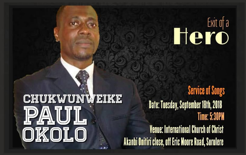 Special Announcement: Service of Songs for Paul Okolo
