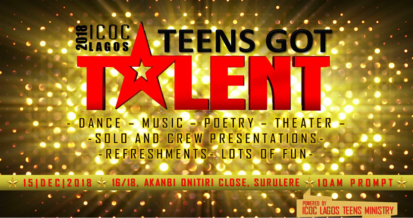 Announcement: The 2018 ICOC Lagos Teens Got Talent (TGT)